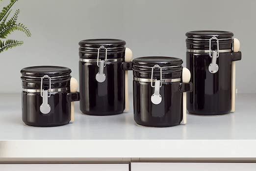 Home Basics 4PC Ceramic Canister Set With Spoon