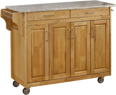 Create-a-Cart Natural 4 Door Cabinet Kitchen Cart with Gray Granite Top