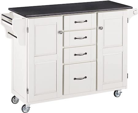 Create-a-Cart White 2 Door granitetop Kitchen Cart Island