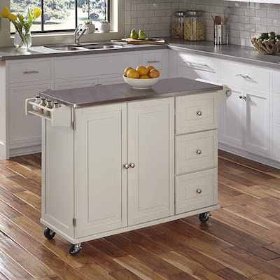 Liberty Off-White Kitchen Cart with Stainless Steel Top