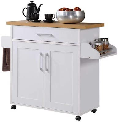 Hodedah Kitchen Island with Spice Rack, Towel Rack & Drawer