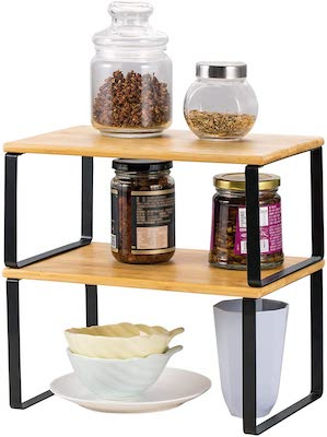 NEX Bamboo Kitchen Cabinet and Counter Shelf Organizer