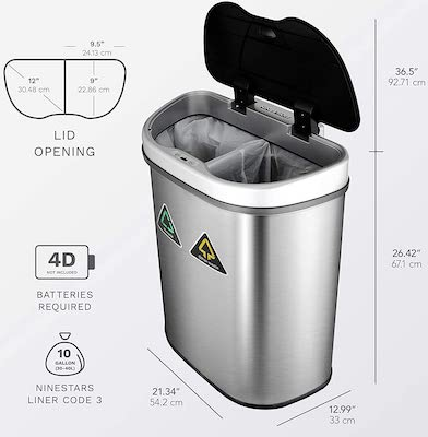 NINESTARS Automatic Touchless Infrared Motion Sensor Trash Can:Recycler
