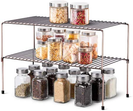 WOSOVO Expandable Stackable Cabinet Shelf Kitchen Counter Rack Organizer