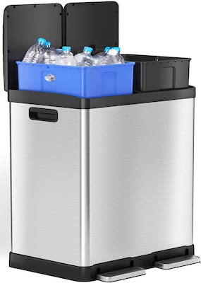 iTouchless 16 Gallon Dual Step Trash Can & Recycle Bin