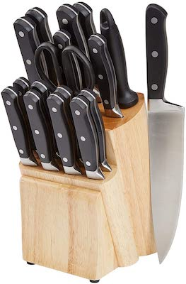 Amazon Basics Premium 18-Piece Kitchen Knife Block Set