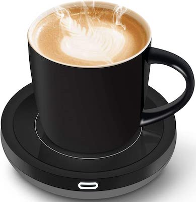 BESTINNKITS Smart Coffee Set Auto On:Off Gravity-induction Mug Office Desk Use, Candle Wax Cup Warmer Heating Plate (Up To 131F:55C), 14oz