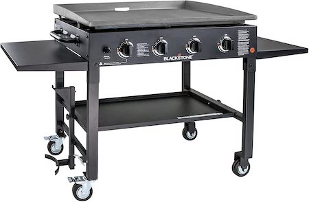 """Blackstone 36 Inch Cooking 4 Burner Flat Top Gas Grill Propane Fuelled Restaurant Grade Professional 36"""" Outdoor Griddle Station with Side Shelf (1554), Black"""