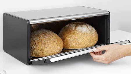 Brabantia Fall Front Bread Box - Matte Steel Fingerprint Proof with Black Sides,