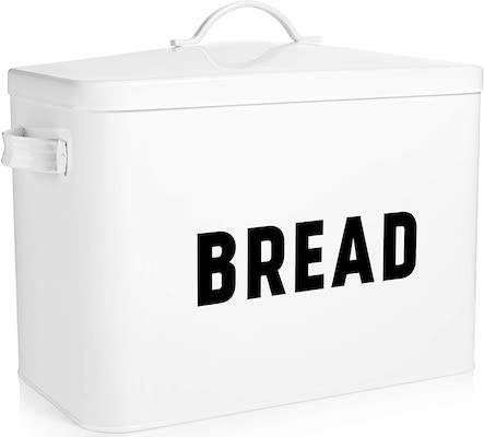 Claimed Corner White Metal Bread Box Storage Bin for Farmhouse Kitchen