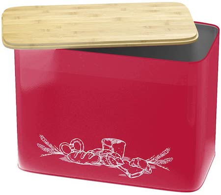 Extra Large Space Saving Vertical Red Bread Box With Eco Bamboo Cutting Board Lid