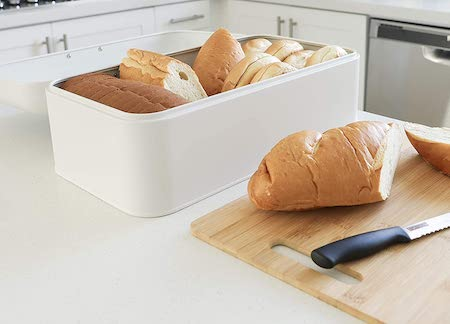 Culinary Couture Large White Bread Box - Extra Large Storage Container for Loaves, Bagels