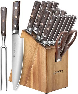 Emojoy 16-Piece Kitchen Knife Set with Carving Fork, Precious Wengewood Handle for Chef Knife Set with Block, German Stainless Steel