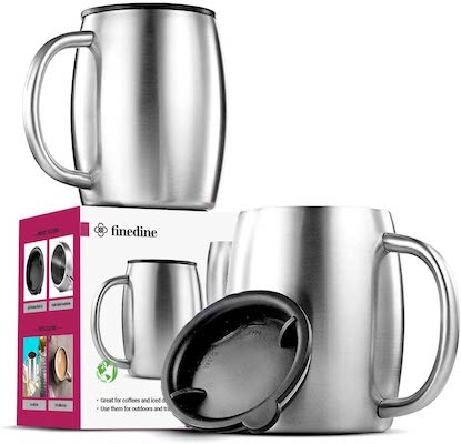 Insulated Stainless-Steel Coffee Mug with Lid and Handle (