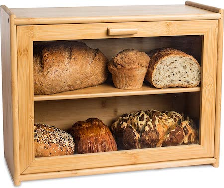 LAURA'S GREEN KITCHEN Large Double Layer Bread Box: Bamboo BreadBox w/Clear Window
