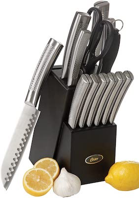 Oster Wellisford High-Carbon Stainless Steel Cutlery Set, 14-Piece, Black:Silver