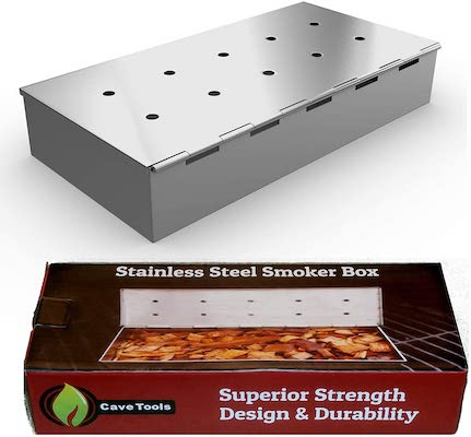 Smoker Box for BBQ Grill Wood Chips - Charcoal & Gas Barbecue Meat Smoking with Hinged Lid