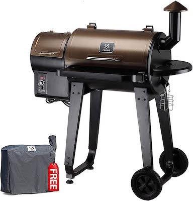 Z GRILLS ZPG-450A Wood Pellet Grill & Smoker 6 in 1 BBQ Grill Auto Temperature Control, 450 Sq in Bronze